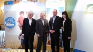 CWB's Ian White; Agriculture Minister Gerry Ritz; Karl Gerrand, CEO of G3; CWB's Dayna Spiring (l-r) in Winnipeg on Wednesday.