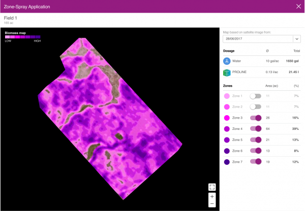 A map interface in Bayer Digital Farming's Zone Spray system (source: Bayer Digital Farming)